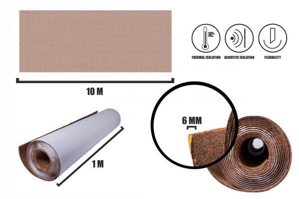 Rolka korkowa samoprzylepna 6mm